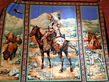"""SPRINGS INDIAN CHIEF ON HORSE WALL HANGING FABRIC PANEL 35"""" X 45"""" W"""
