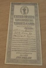 """1918 WWI United States Government """"THRIFT CARD"""" War Bond/Certificate STAMPS~"""
