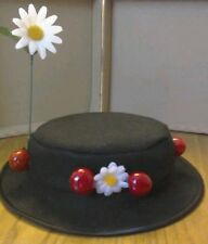 GIRLS Mary poppins inspired Hat 52cm .felt .faux cherries & daisies