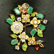 NATURAL EMERALD, FANCY SAPPHIRE, REAL FLOWER PEARL CARVED 925 SILVER PENDANT