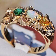 1950's Vintage size 7 handmade 14k yellow gold 0.60ct multi gemstone ring 4.8gr