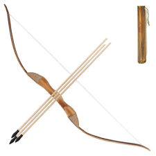 Archery Wooden Kids Bow Set Left Hand 3 Arrows Quiver Rubber Tips Hunting Toy