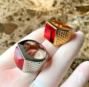 MEN's Stainless Steel Silver/Gold Ruby Ring Size 8-12*