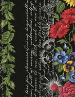 """Timeless Treasures Beautiful 11"""" floral Border Stripe cotton fabric by the yard"""