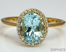 Aquamarine Solitaire with Accents Yellow Gold Engagement Rings
