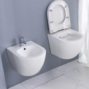 Spülrandloses Wand Hänge-WC Toilette mit Sitz SoftClose & Bidet Set ohne Armatur