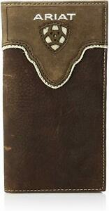 Ariat Mens Distressed Leather Rodeo Western Wallet Checkbook Cover (Brown)