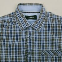 James Campbell Men's Button Up Shirt Short Sleeve Size Large Plaid Blue