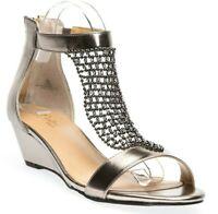 Thalia Sodi Tibby Mesh Embellished Women's Wedge Sandals Pewter Size 10 M