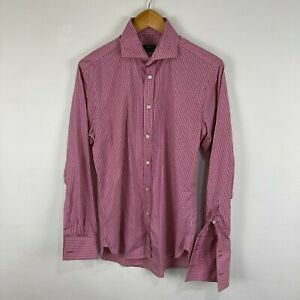 Herringbone Mens Button Up Shirt Size Small Red Check Long Sleeve Collared