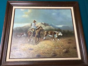 "Western Scene J. Stanford Signed Oil Painting  - 30.5"" X 26.5"" Framed"