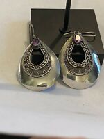 Beautiful Teardrop Sterling With Amethyst And Marcasite Earrings