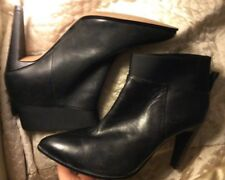 "CLARKS Somerset Black Leather/Elastine 4"" Slim Heel Pointed Ankle Boots 7d"