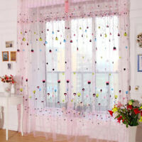 Elegant Floral Voile Door Window Curtain Transparent Panel Sheer Tulle Drapes