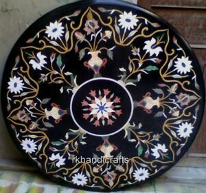 48 Inches Marble Hotel Table Top with Marquetry Art Dining table Floral Pattern