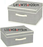 Fabric Storage Box with Lid Drawer Makeup Toys Books Clothes Shelving Organiser