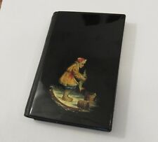 Vintage Russian hand painted lacquer cover address book ice fishing/magic fish