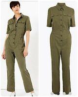 Ex M&S Button Front Utility Jumpsuit Khaki Short Sleeve Size 6-18 RRP £65