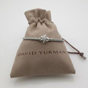 David Yurman 3mm Sterling Silver Cable Starburst Diamonds Bracelet size medium