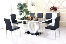 Black White High Gloss Glass Dining Table Set and 6 Leather Chairs Seats