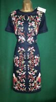 New MONSOON Uk 8 10 Dark Navy Blue Linen LILOU Floral Embroidered Shift Dress
