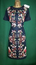 New MONSOON 8 10 14 1618 22 Navy Blue Linen LILOU Floral Embroidered Shift Dress
