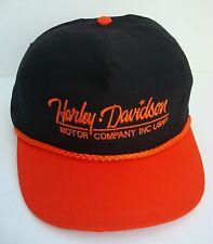 Vintage Harley Davidson Motor Company INC USA Black Orange Biker Cap