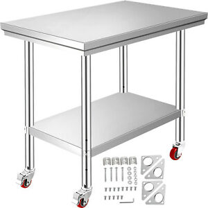 """Rolling Top Kitchen Work Table Cart + Casters Shelving 36""""x24"""" Stainless Steel"""