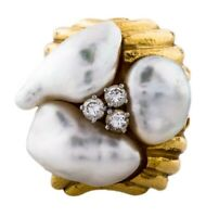 Heavy Vintage 18k Gold Three Baroque South Sea Pearls Diamond Ring 16.5gms