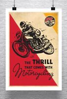 Motorcycling Vintage Motorcycle Cafe Racer Poster Rolled Canvas Giclee 24x32 in.