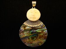 BONE MOON FACE STERLING ABALONE PENDANT Carved Close Eyes 925 Silver