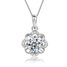 Women 925 Sterling Silver Plated  Crystal Fashion Flower Choker Pendant Necklace