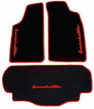 Black velours floor mats and trunk carpet for Fiat Barchetta 2001-2005 red