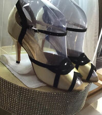 Vintage Ladies 1930-1940 Ivory Satin Black Vevet Trim Ballroom Shoes 71/2 -