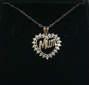 9ct 375 Yellow Gold Cluster Heart MUM Pendant Necklace
