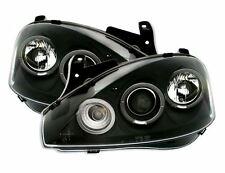 VAUXHALL CORSA C 00-06 BLACK ANGEL EYE HALO PROJECTOR HEAD LIGHTS LAMPS PAIR NEW