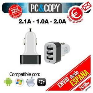 S1248 Cargador TRIPLE mechero coche movil tablet 2.1A-2A-1A 3 USB blanco y negro