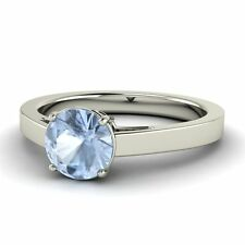 Certified 0.62 Ctw Round Solitaire Natural Aquamarine Engagement Ring Sterling