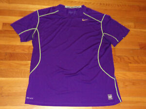 NIKE PRO COMBAT DRI-FIT SHORT SLEEVE PURPLE FITTED JERSEY MENS 2XL EXCELLENT