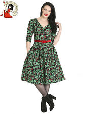 HELL BUNNY HOLLY BERRY DRESS 50s XMAS christmas VINTAGE style FESTIVE BLACK