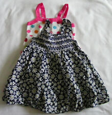 Bundle of 2 Items Dresess Girl Spotty Floral Blue Pink White Size 12 24 Months