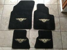 Bentley Continental GT 05-11 BLACK FLOOR MATS MED TAN WINGS RIGHT HAND DRIVE