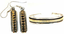Designer: C. Harrell Dangling earrings & Bangle Bracelet 14kt & 925 +
