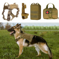 Tactical Dog Harness Molle K9 Training Coat with EMT Waistbag Water Bottle Pouch