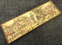 "Antique 55"" Framed Hand Woven Red Coat British Pointer Dogs Hunt Scene Tapestry"