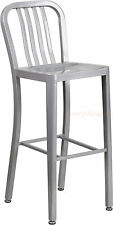MID-CENTURY SILVER 'NAVY' STYLE BAR STOOL HIGH TOP CHAIR IN-OUTDOOR COMMERCIAL