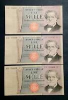 1000 LIRE VERDI 2° TIPO decreto 06.09.1980 fds 3 banconote consecutive da collez