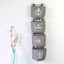 Grey Wall Hanging Storage Bag Sundries Organizer Hanger Cotton Linen Bag Fashion