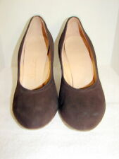 Vintage 1940s-50s Womens Brown Suede Rounded Toe High Heels
