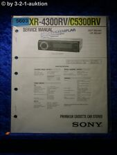 Sony Service Manual XR 4300RV /C5300RV Car Stereo (#5603)